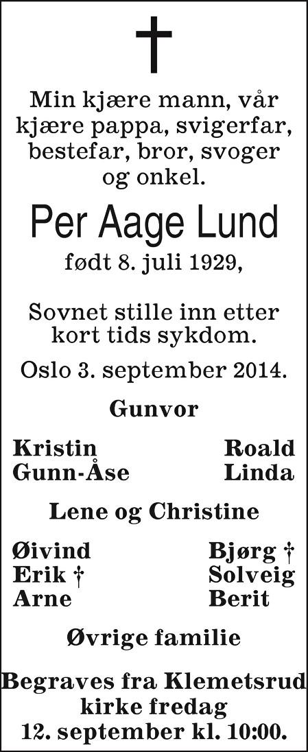 Per Aage Lund Dødsannonse