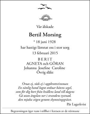 Bertil Morsing Dödsannons