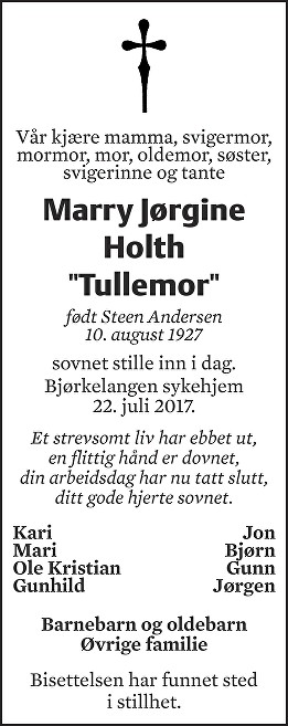 "Marry Jørgine Holth ""Tullemor"""